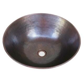 Vintage Dark Solid Copper 13-inch Vessel Sink