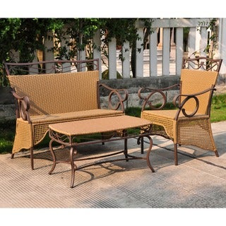 International Caravan Valencia Resin Wicker Settee Group