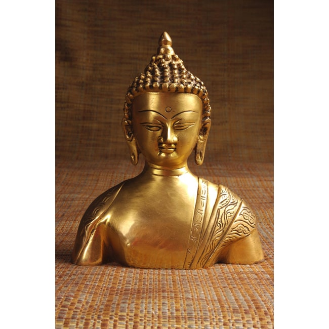 Handcrafted Brass Buddha Bust (India)