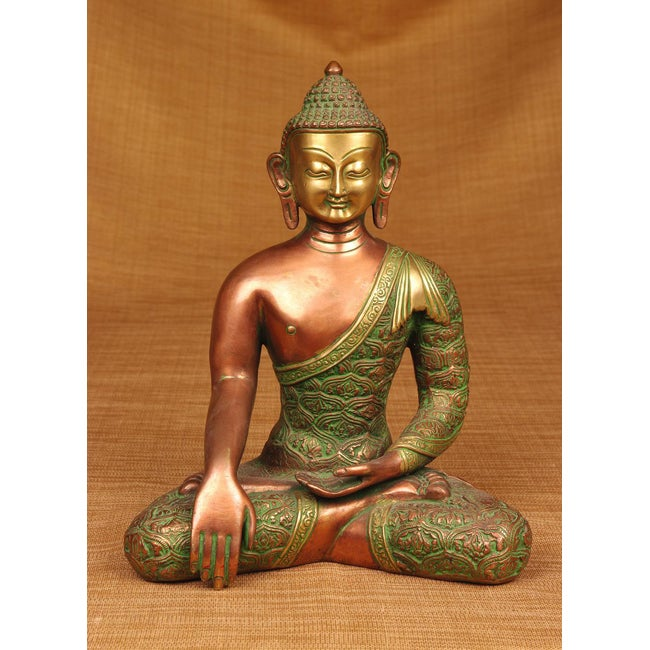 Brass Green and Copper Sitting Buddha Sculpture , Handmade in India