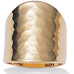 PalmBeach 18k Yellow Gold over Sterling Silver Hammered Ring Tailored