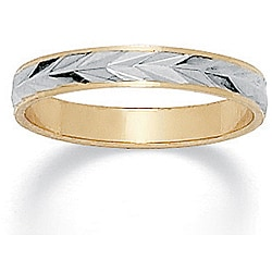 PalmBeach 14k Two-tone Gold Overlay Men's Band (3.2 mm)
