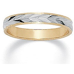 Neno Buscotti 14k Two-tone Gold Overlay Men's Band (3.2 mm)