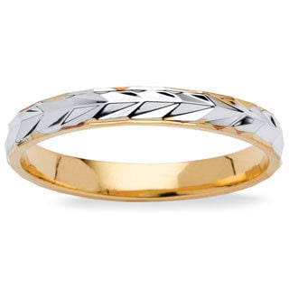 PalmBeach Textured Wedding Ring in Two-Tone 14k Gold-Plated