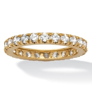 PalmBeach Stackable CZ 10k Yellow Gold Cubic Zirconia Eternity Band Classic CZ