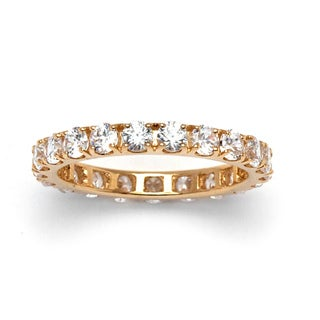 Ultimate Stackable CZ 10k Yellow Gold Cubic Zirconia Eternity Band