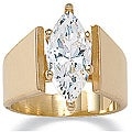 Ultimate CZ 14k Yellow Gold Overlay Marquise-cut Cubic Zirconia Ring