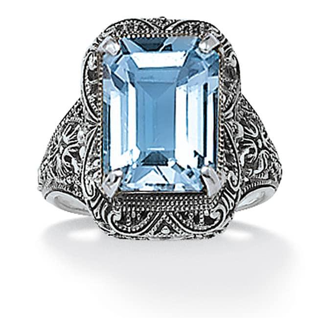 palmbeach sterling silver blue topaz filigree ring