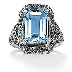 PalmBeach Sterling Silver Blue Topaz Filigree Ring Diamonds & Gems