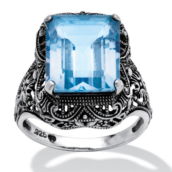 PalmBeach Sterling Silver Blue Topaz Filigree Ring