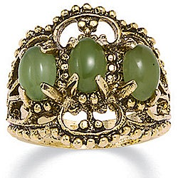 PalmBeach 14k Yellow Gold Overlay Jade Antiqued Filigree Ring Naturalist