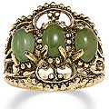 Angelina D'Andrea 14k Yellow Gold Overlay Jade Antiqued Filigree Ring