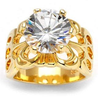 PalmBeach CZ 14k Yellow Gold Overlay Cubic Zirconia Filigree Ring Glam CZ