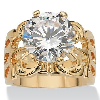 PalmBeach CZ 14k Yellow Gold Overlay Cubic Zirconia Filigree Ring Glam CZ