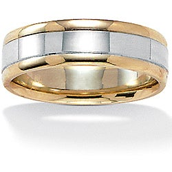 Neno Buscotti 10k Two-tone Gold Men's Band (5.6 mm)