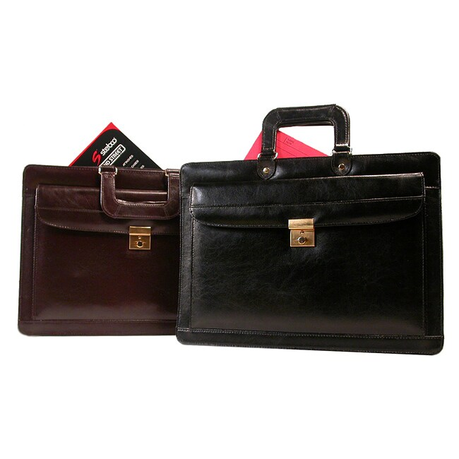Bond Street Black Leather Lockable Briefcase