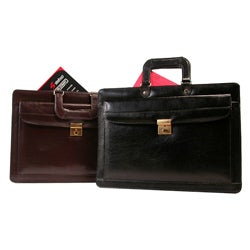 Black Leather Lockable Briefcase