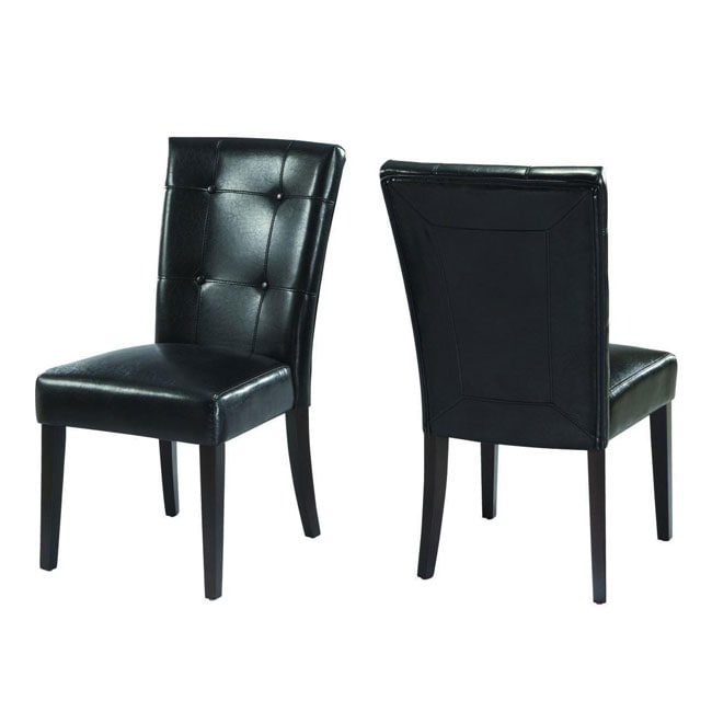 Button tufted black parsons chair set of 2 13002791 for Black leather parsons chairs