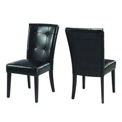 Button-tufted Black Parsons Chair (Set of 2)