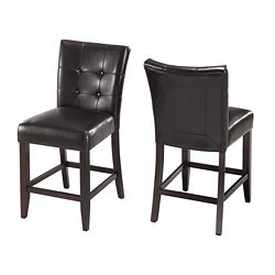 Button-tufted Black Counter Stool (Set of 2)