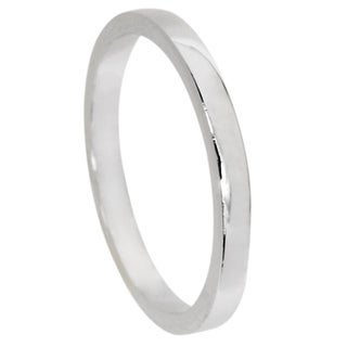 NEXTE Jewelry White Rhodium Overlay Contoured Fit Band (2 mm)