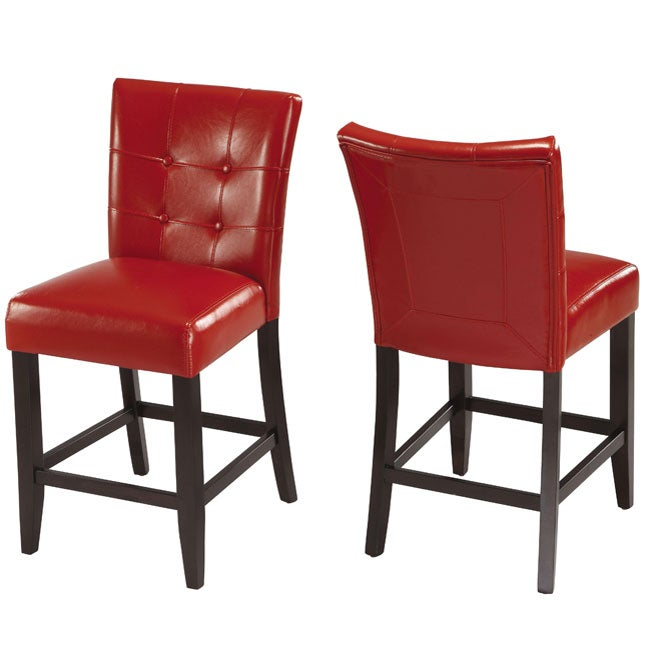 Button-tufted Red Counter Stool (Set of 2)