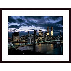 Dmitri Kessel 'Brooklyn Bridge and Lower Manhattan Skyline at Dusk, 1973' Wood Framed Art Print