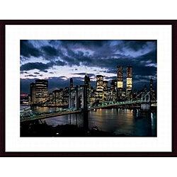 Dmitri Kessel 'Brooklyn Bridge and Lower Manhattan Skyline at Dusk, 1973' Wood Framed Art Print