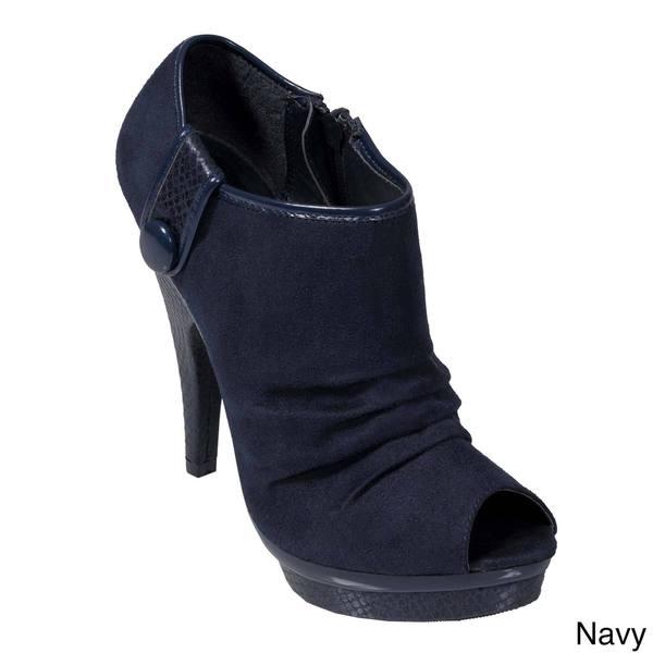 Journee Collection Women's Peep Toe Platform Heel Booties