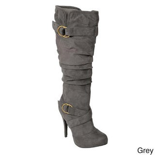 Glaze by Adi Women's Tall Slouchy Faux-Suede/Metal-Accented Boots