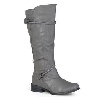 Journee Collection Women's 'Harley' Regular and Wide-calf Ankle-strap Buckle Knee-high Riding Boot