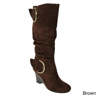 Glaze by Adi Women's Faux Suede Buckle Accent Tall Boots