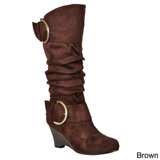 Journee Collection Women's Regular and Wide-Calf 'Irene-1' Buckle Slouch Wedge Knee-High Boots
