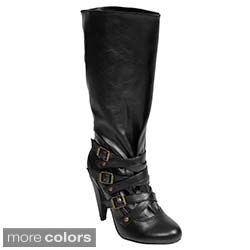 Journee Collection Women's Buckle Accent Boots