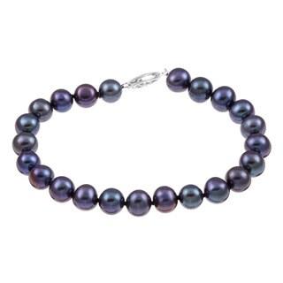 DaVonna Sterling Silver Black Cultured Pearl Bracelet (7.5-8 mm)