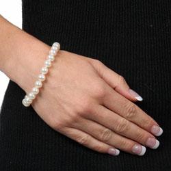 DaVonna Sterling Silver White Freshwater Pearl Bracelet (7.5-8 mm)