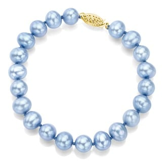 DaVonna 14k Yellow Gold Blue Cultured Pearl Bracelet (8-9mm)