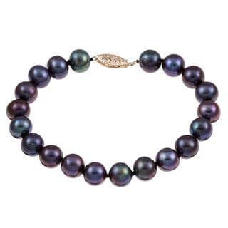 DaVonna 14k Yellow Gold Black Cultured Pearl Bracelet (8-9 mm)