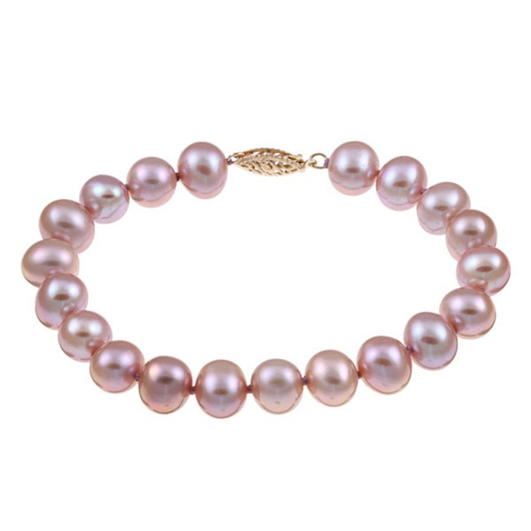 DaVonna Sterling Silver Pink Cultured Pearl Bracelet (8-9 mm)