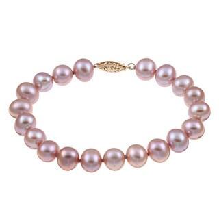 DaVonna Sterling Silver Pink Cultured Pearl Bracelet (8-9 mm)