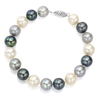 DaVonna Sterling Silver Dark-multi Cultured Pearl Bracelet (8-9 mm)