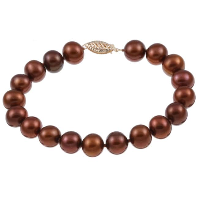 DaVonna 14k Gold Chococlate FW Pearl 8-inch Bracelet (9-10 mm)