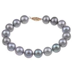 DaVonna 14k Gold Grey FW Pearl 7.25-inch Bracelet (10-11 mm)