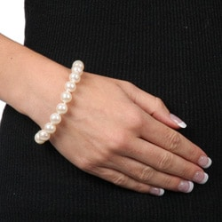 DaVonna Silver White FW Pearl 7.25-inch Bracelet (10-11 mm)
