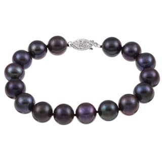 DaVonna Silver Black 10-11mm FW Pearl Bracelet (8 in) with Gift Box