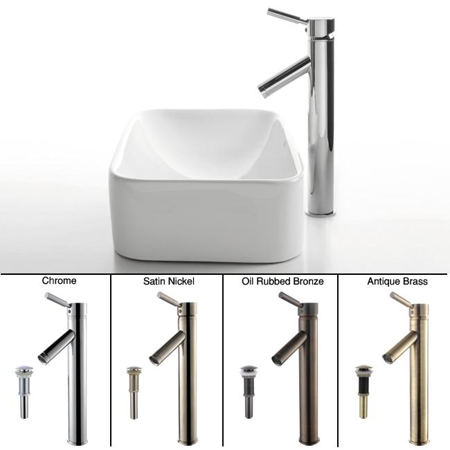 Kraus Bathroom Combo Set White Ceramic Rectangular Sink/Sheven Faucet