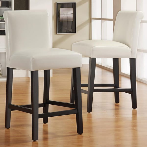 INSPIRE Q Bennett White Faux Leather 24-inch Counter Height Stools (Set of 2)