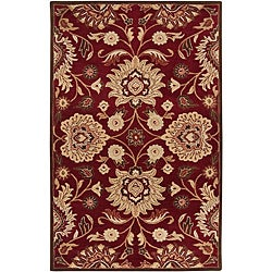 Hand-tufted Floral Medallion Burgundy Wool Rug (6' x 9')