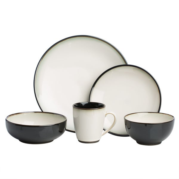Sango 40-piece Nova Black Stoneware Dinnerware Set