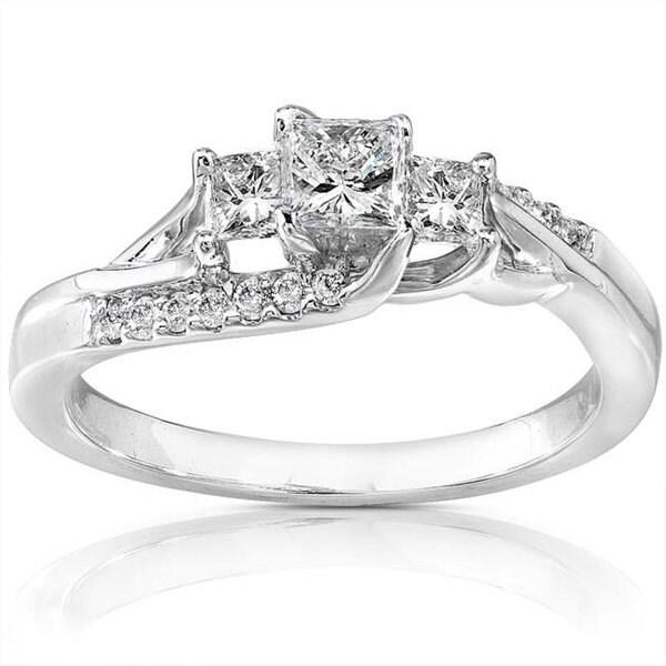 Annello 14k White Gold 1 2ct TDW Diamond Engagement Ring H I I1 I2 Overs